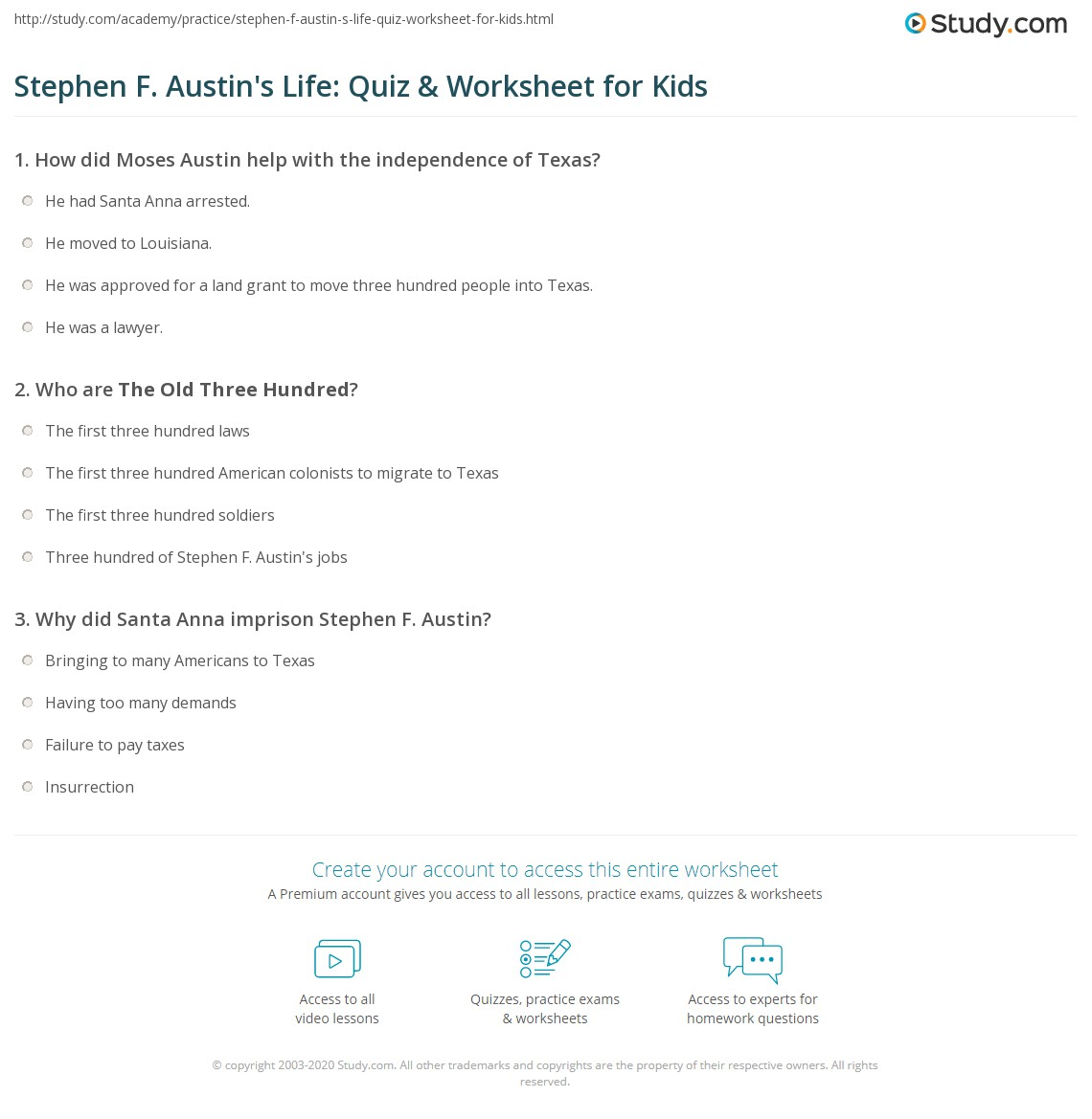 Stephen F Austin S Life Quiz Amp Worksheet For Kids