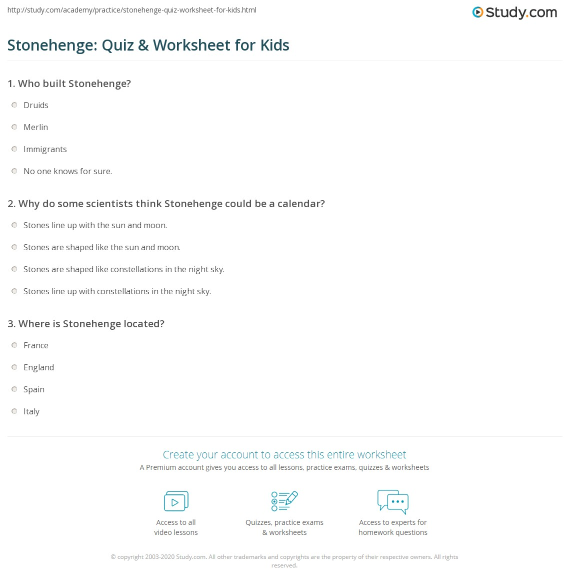 Stonehenge Quiz Amp Worksheet For Kids