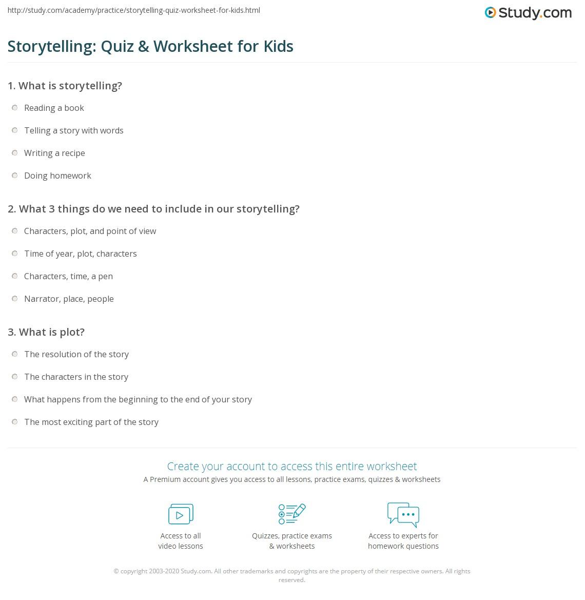 Storytelling Quiz Amp Worksheet For Kids