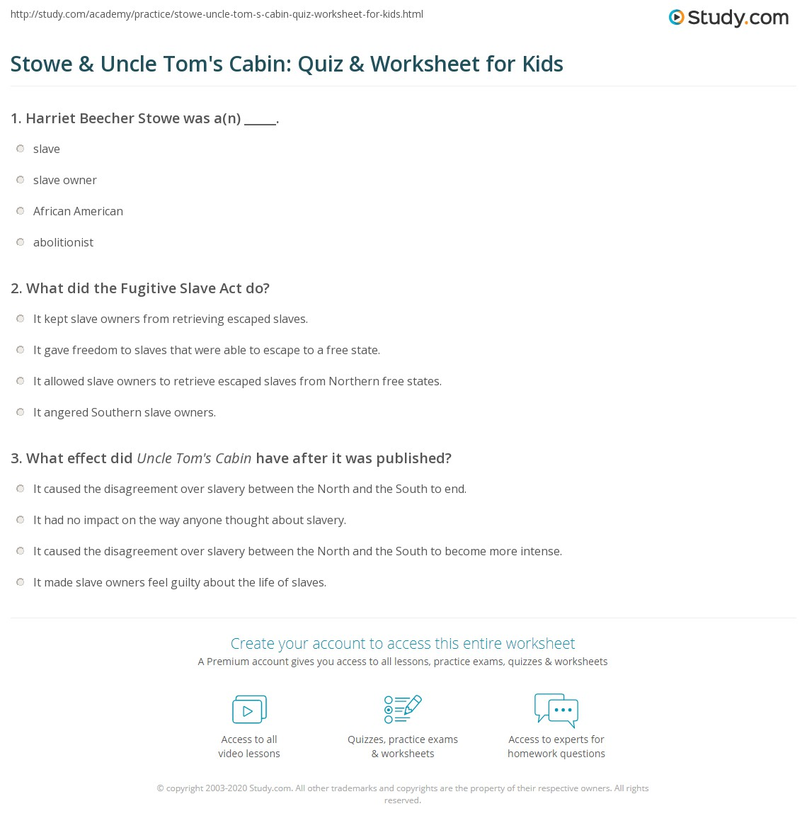 Stowe Amp Uncle Tom S Cabin Quiz Amp Worksheet For Kids