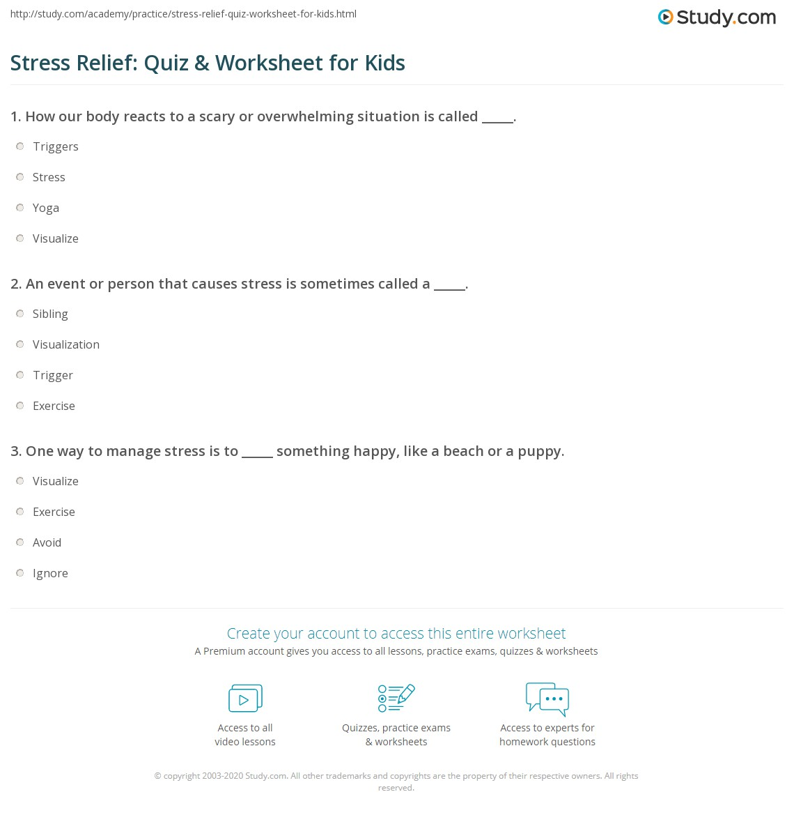 Stress Relief Quiz Amp Worksheet For Kids