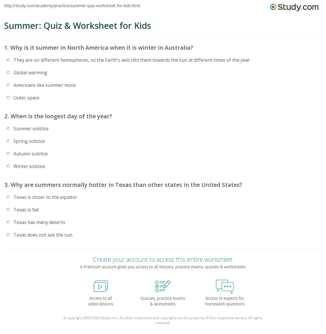Summer Quiz Amp Worksheet For Kids