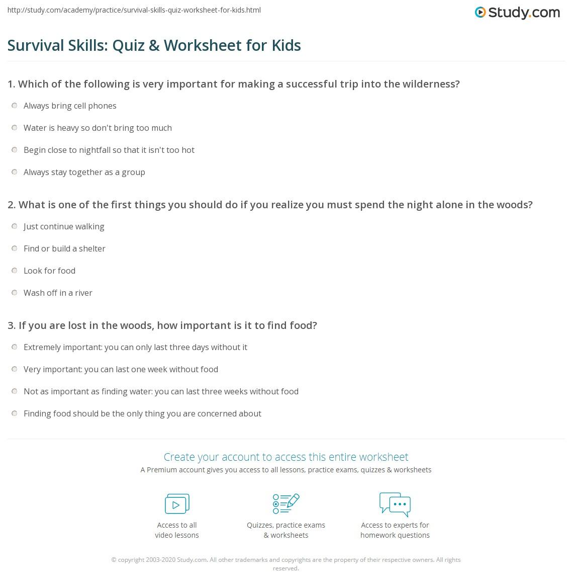 Survival Skills Quiz Amp Worksheet For Kids