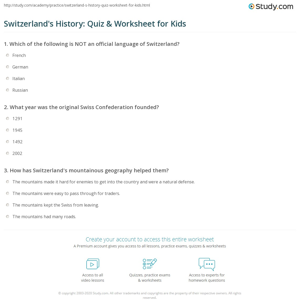 Switzerland S History Quiz Amp Worksheet For Kids