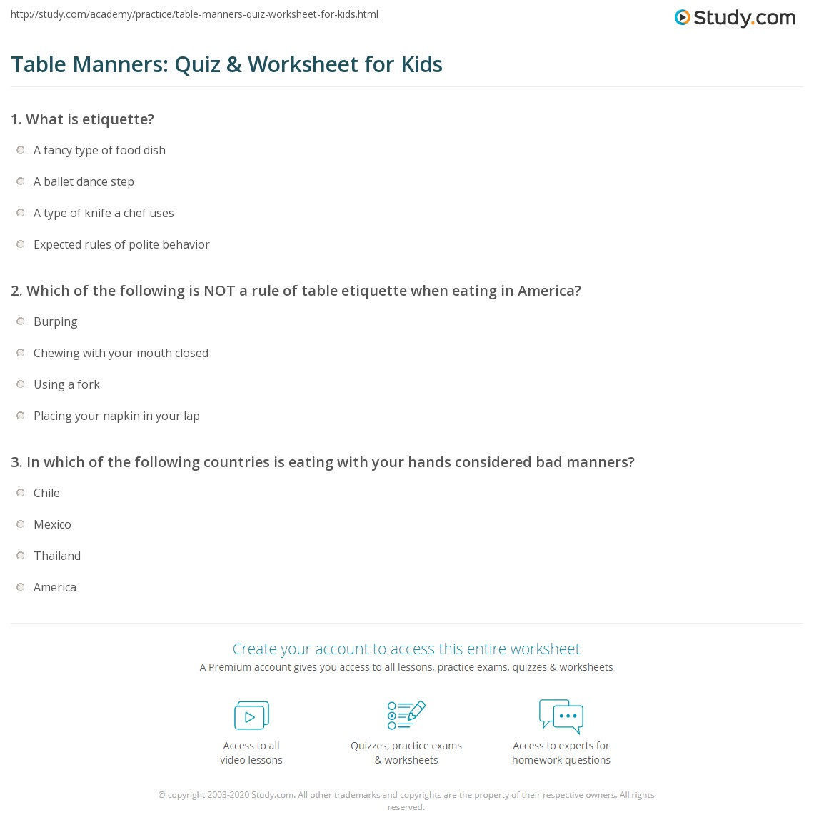 Table Manners Quiz Amp Worksheet For Kids