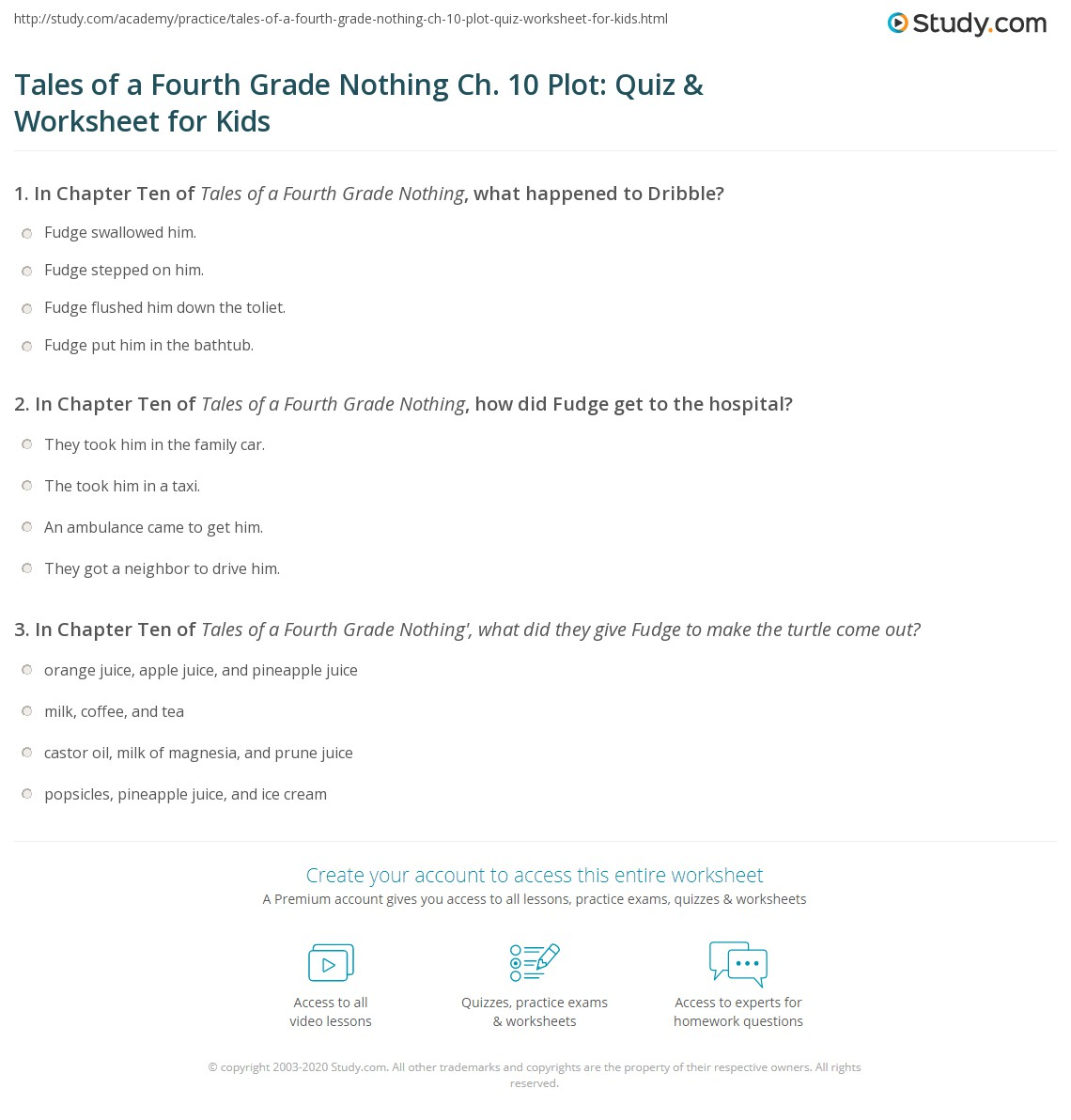 Tales Of A Fourth Grade Nothing Ch 10 Plot Quiz