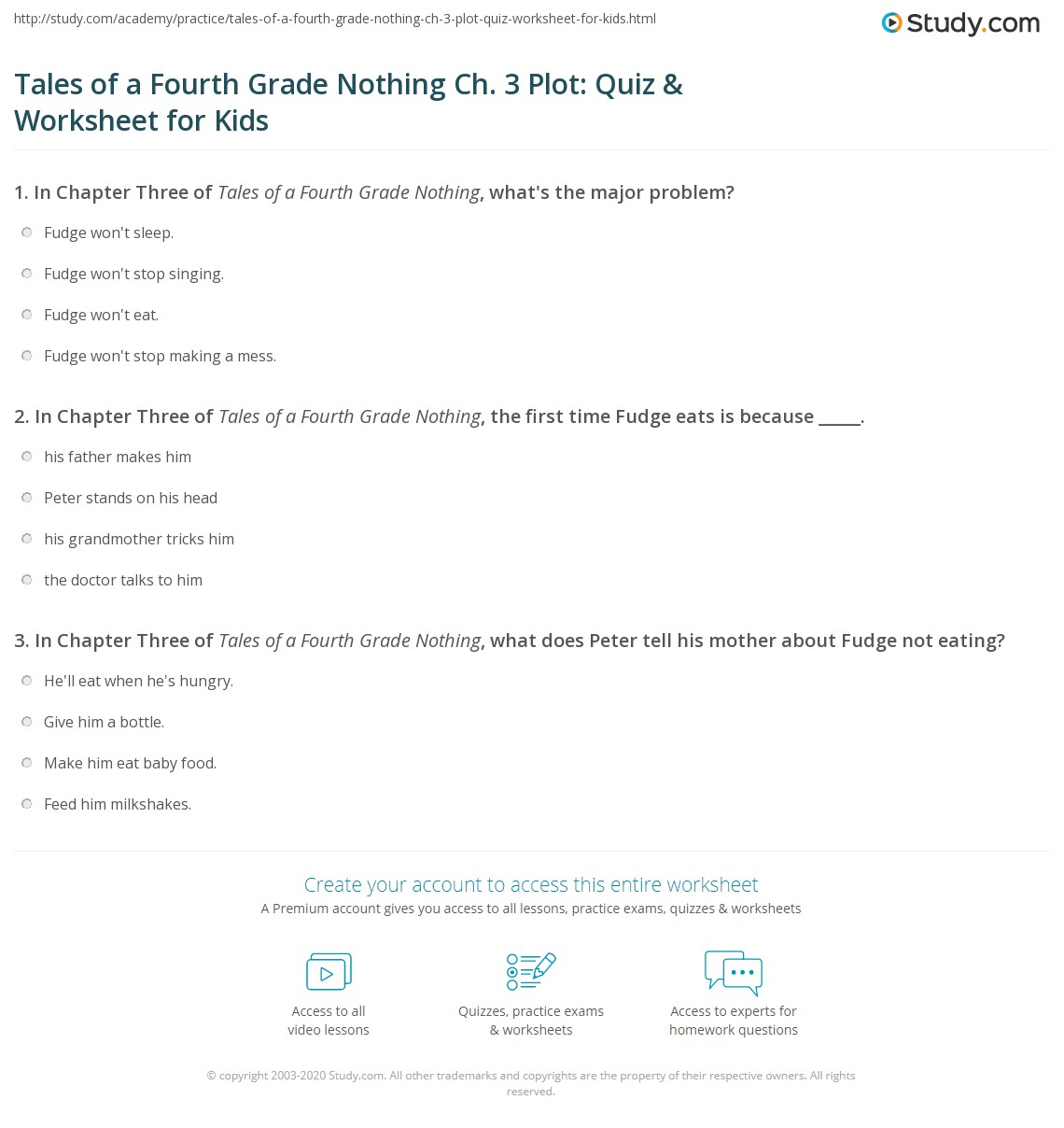 Tales Of A Fourth Grade Nothing Ch 3 Plot Quiz