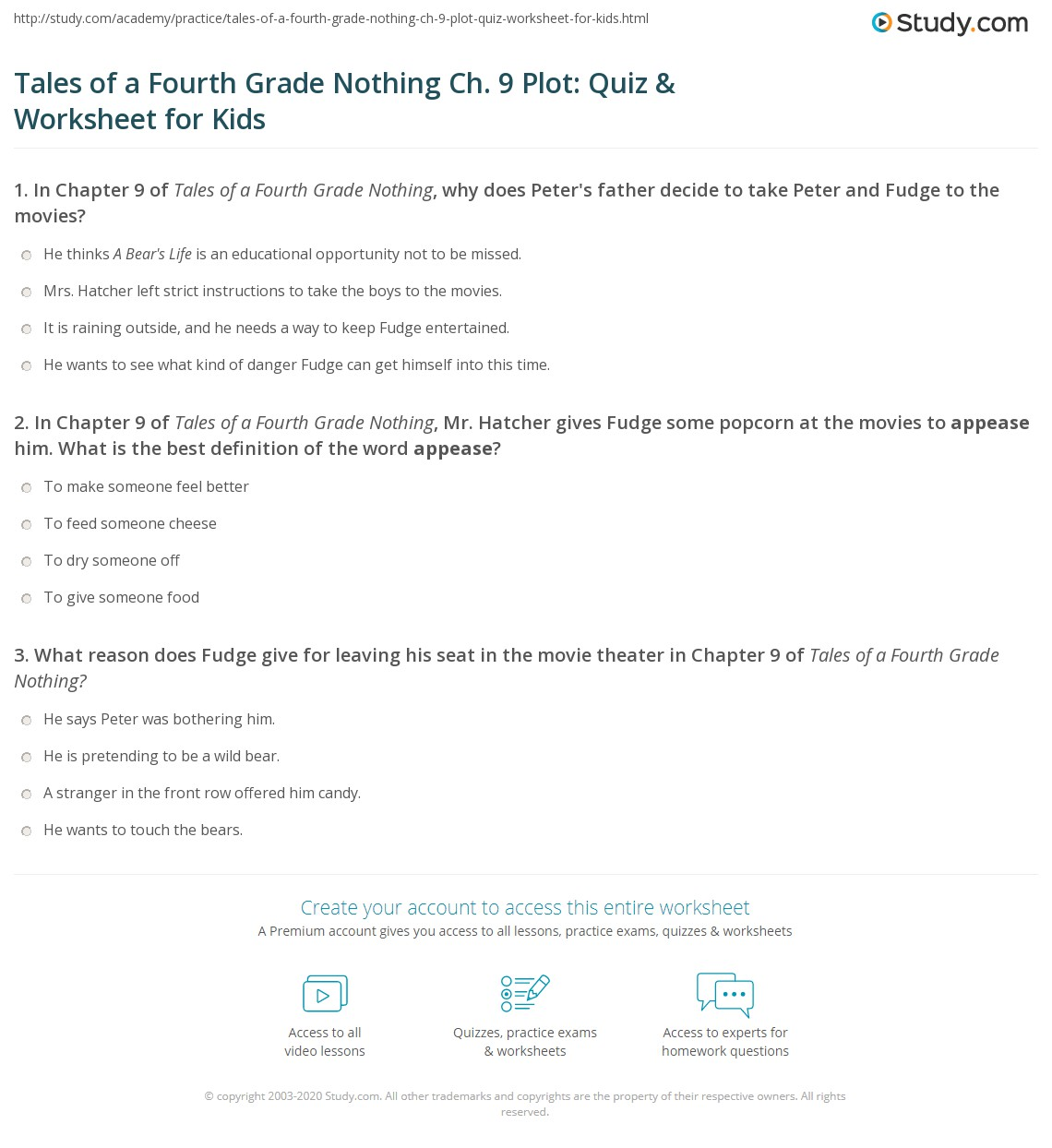 Tales Of A Fourth Grade Nothing Ch 9 Plot Quiz Amp Worksheet For Kids