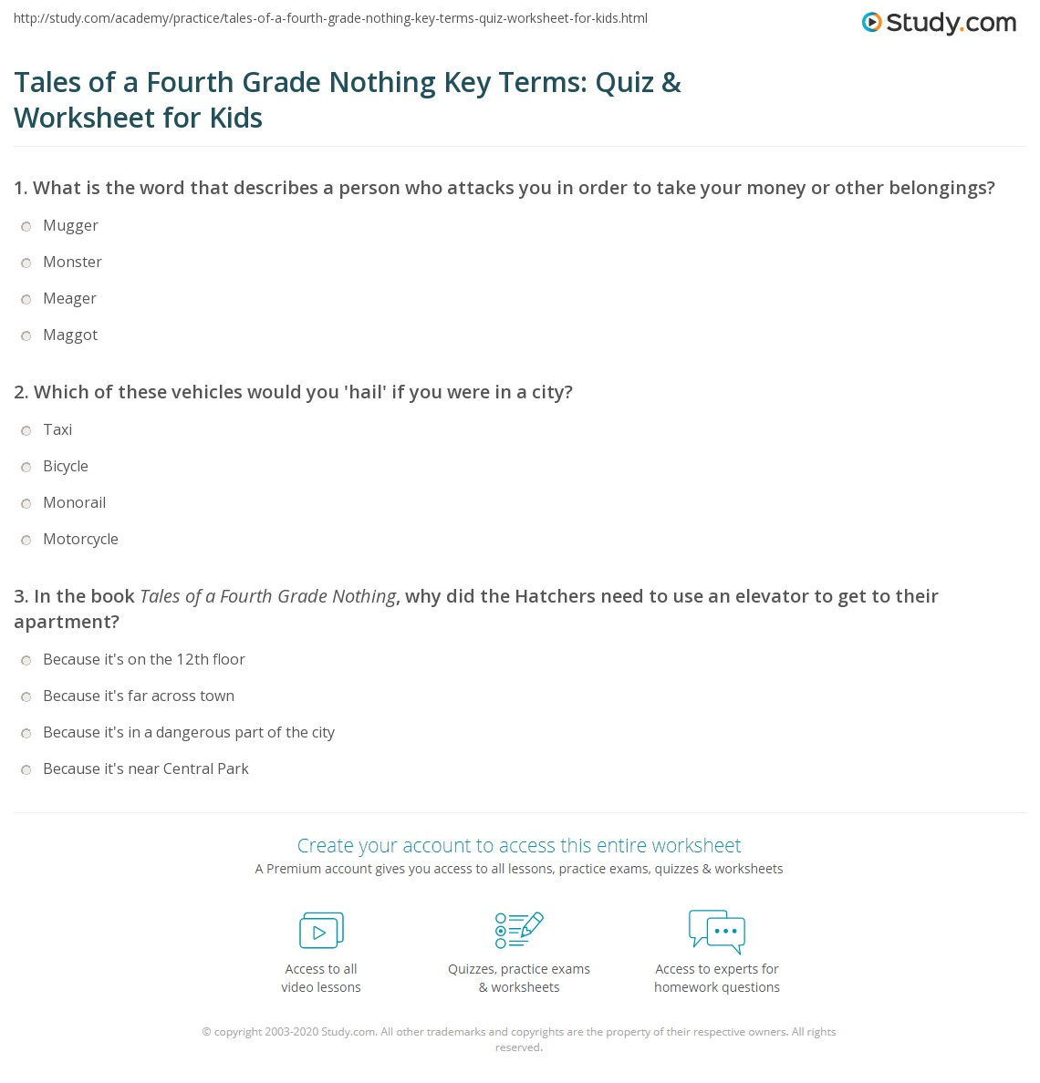 Tales Of A Fourth Grade Nothing Key Terms Quiz