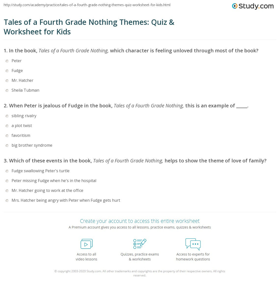Tales Of A Fourth Grade Nothing Themes Quiz Amp Worksheet