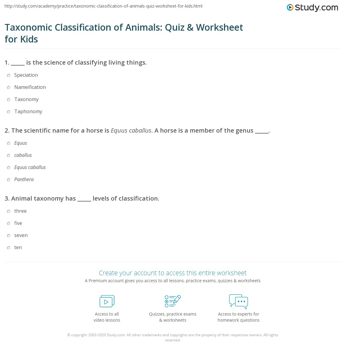 Taxonomic Classification Of Animals Quiz Amp Worksheet For