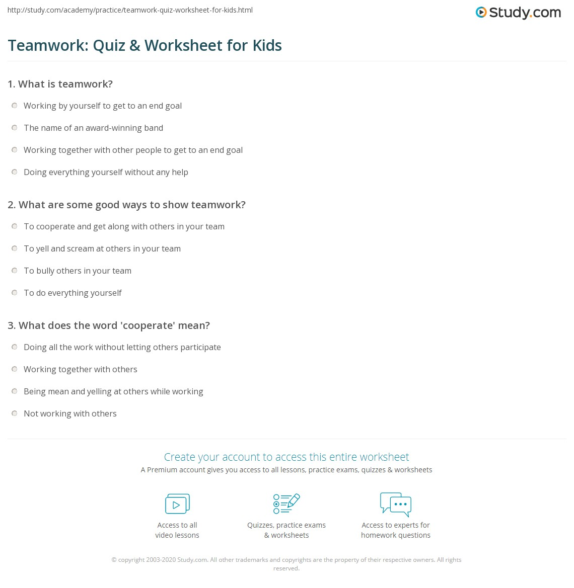 Teamwork Quiz Amp Worksheet For Kids