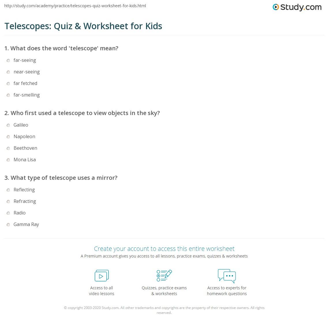 Telescopes Quiz Amp Worksheet For Kids
