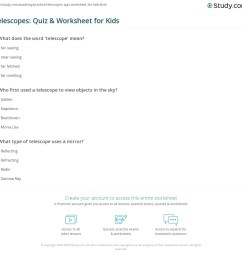 Telescopes: Quiz \u0026 Worksheet for Kids   Study.com [ 1121 x 1140 Pixel ]