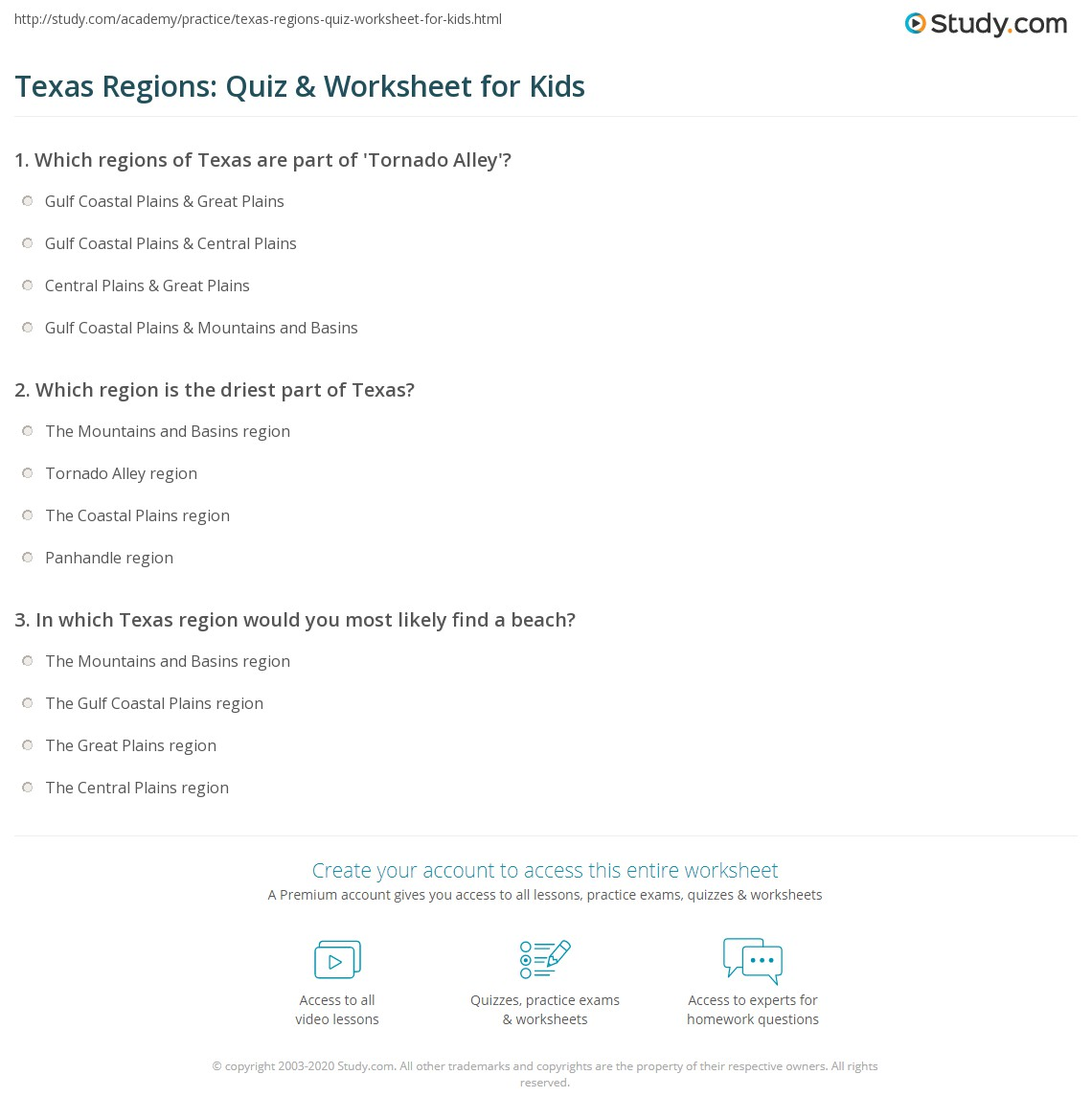 Texas Regions Quiz Amp Worksheet For Kids