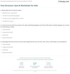 Text Structure: Quiz \u0026 Worksheet for Kids   Study.com [ 1197 x 1140 Pixel ]