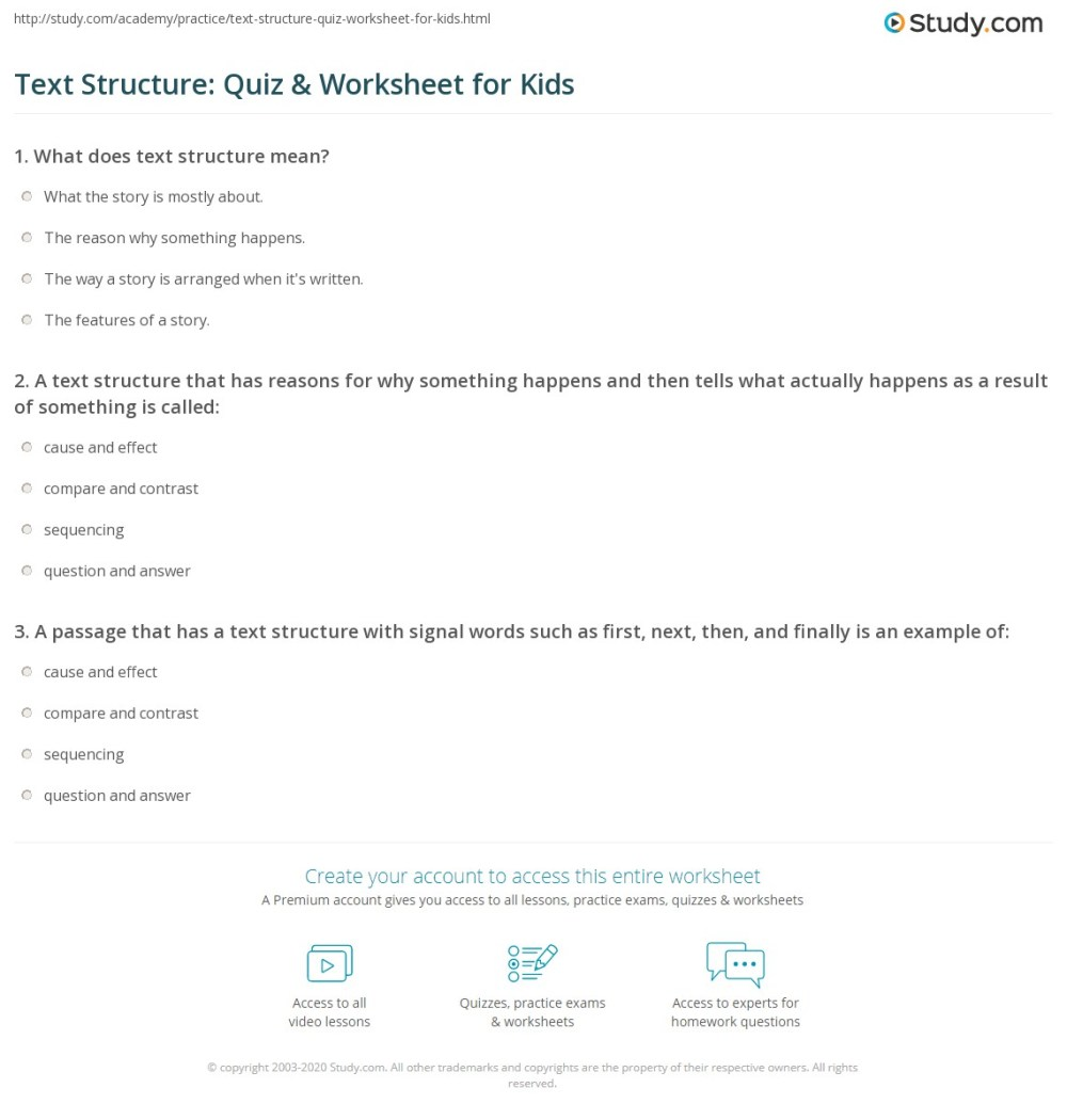 medium resolution of Text Structure: Quiz \u0026 Worksheet for Kids   Study.com