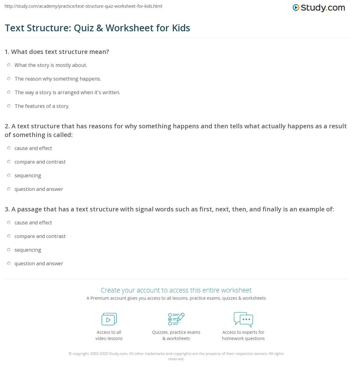 hight resolution of Text Structure: Quiz \u0026 Worksheet for Kids   Study.com