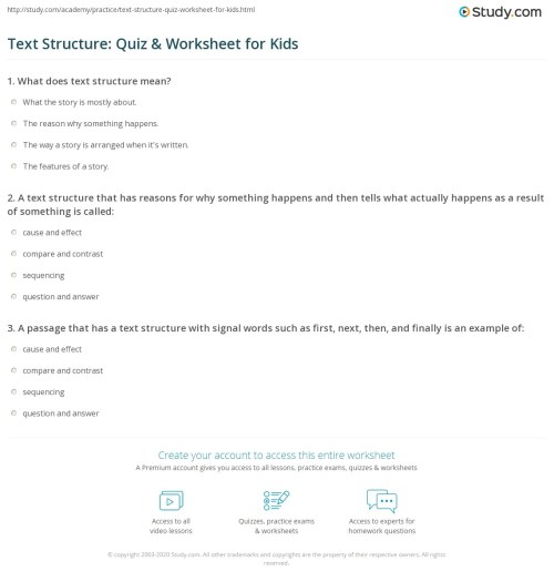small resolution of Text Structure: Quiz \u0026 Worksheet for Kids   Study.com