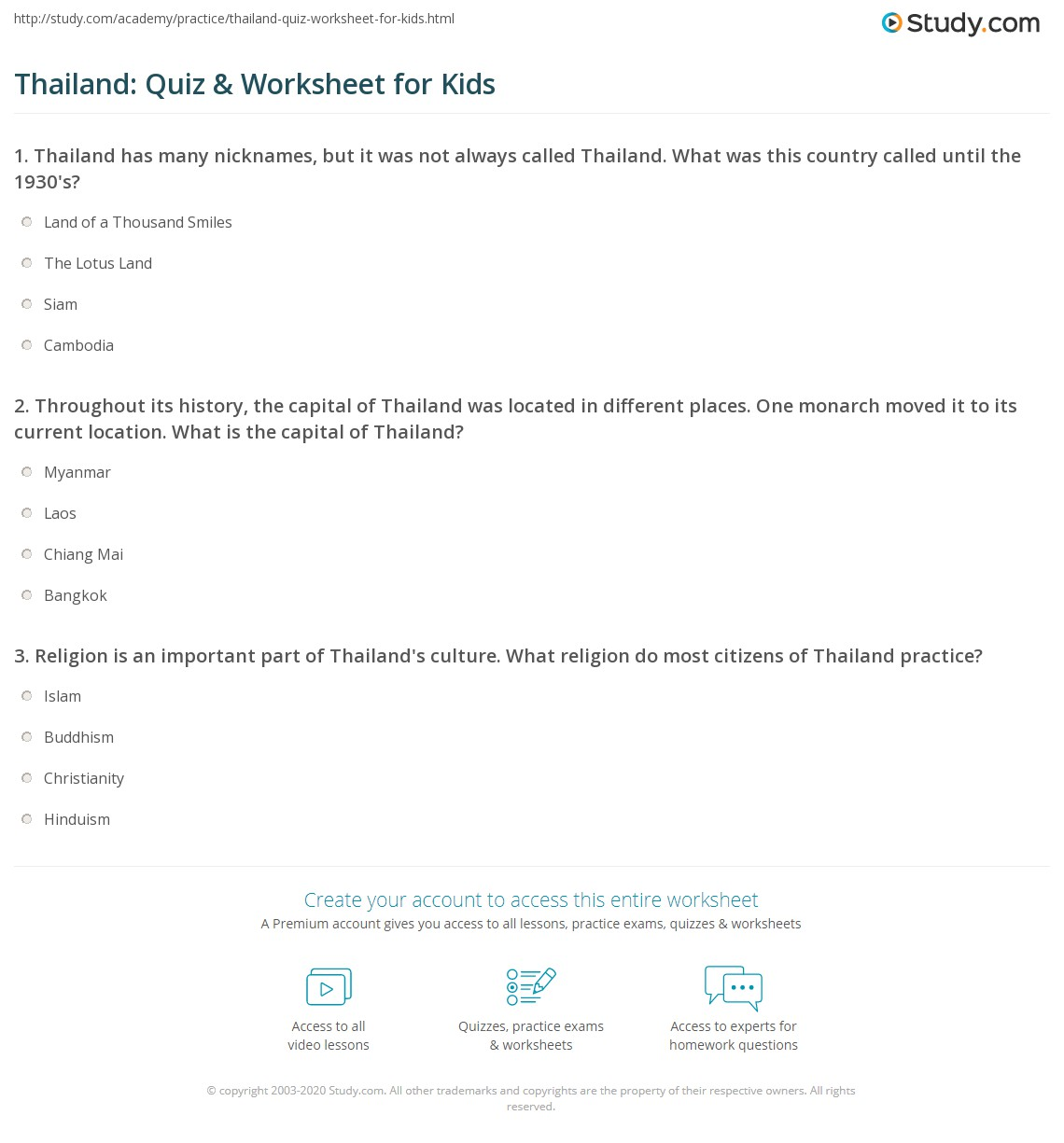 Thailand Quiz Amp Worksheet For Kids