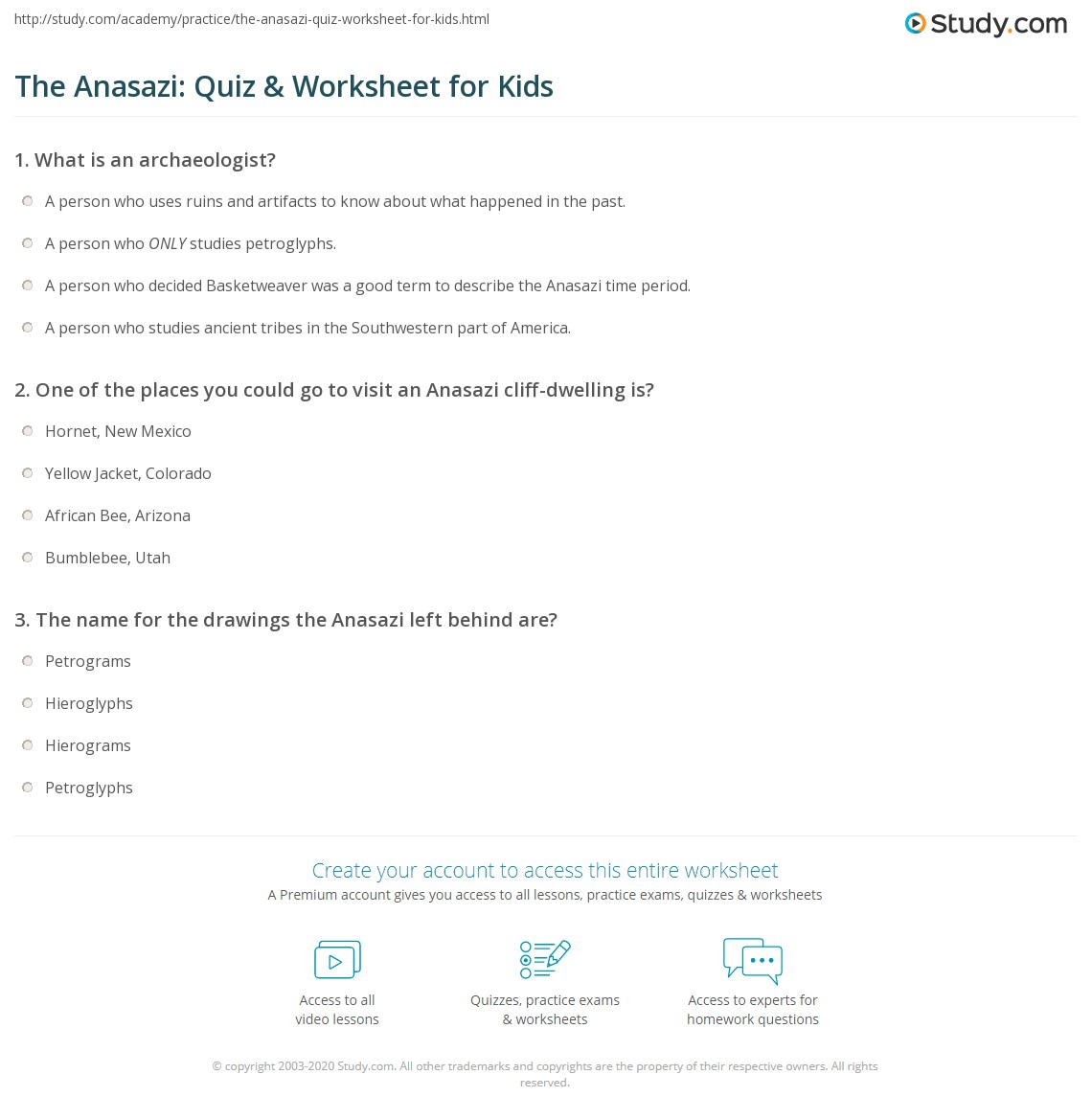 The Anasazi Quiz Amp Worksheet For Kids