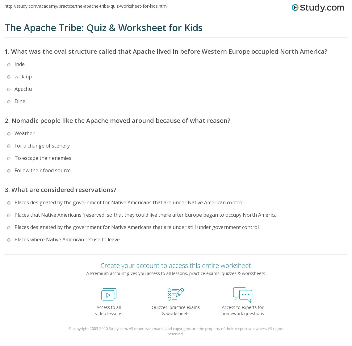 The Apache Tribe Quiz Amp Worksheet For Kids