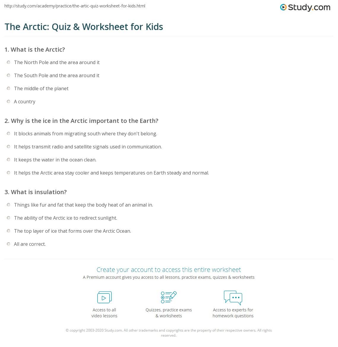 The Arctic Quiz Amp Worksheet For Kids