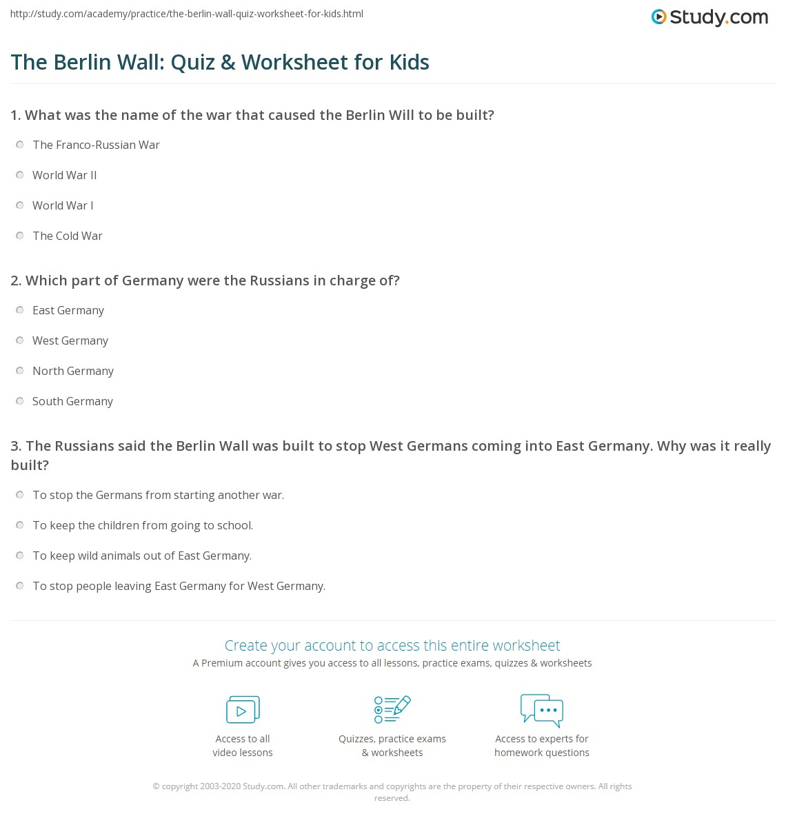 The Berlin Wall Quiz Amp Worksheet For Kids