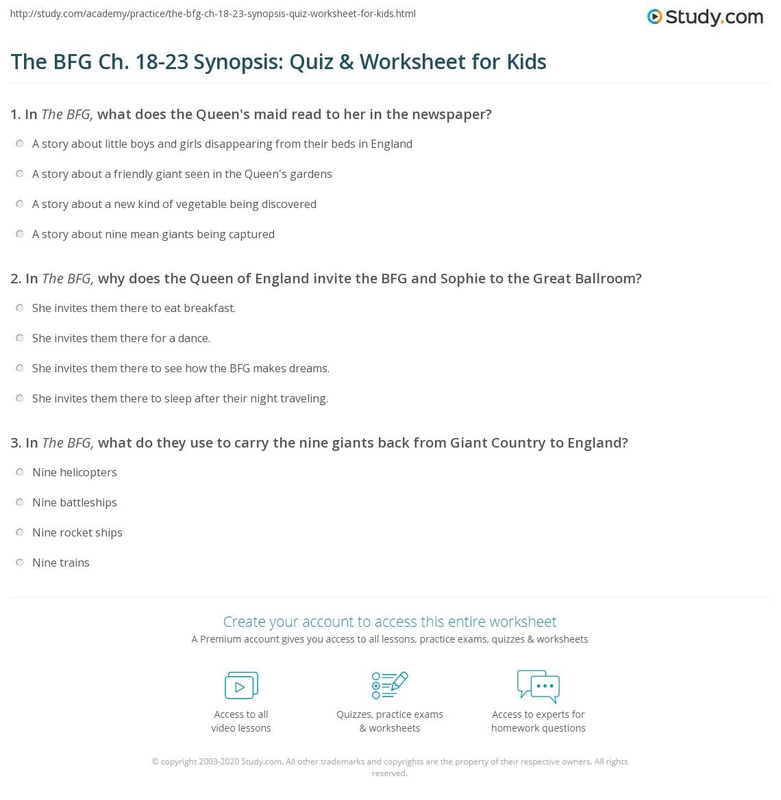 The Bfg Ch 18 23 Synopsis Quiz Amp Worksheet For Kids