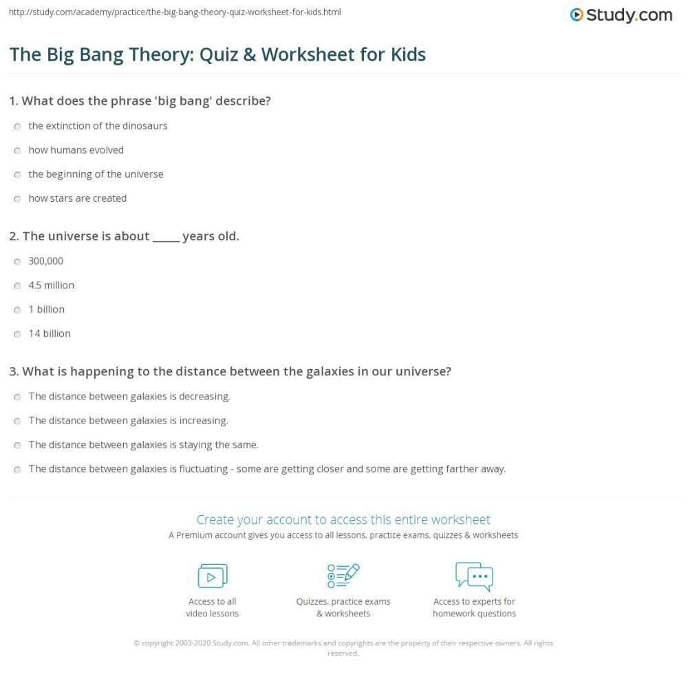 medium resolution of The Big Bang Theory: Quiz \u0026 Worksheet for Kids   Study.com