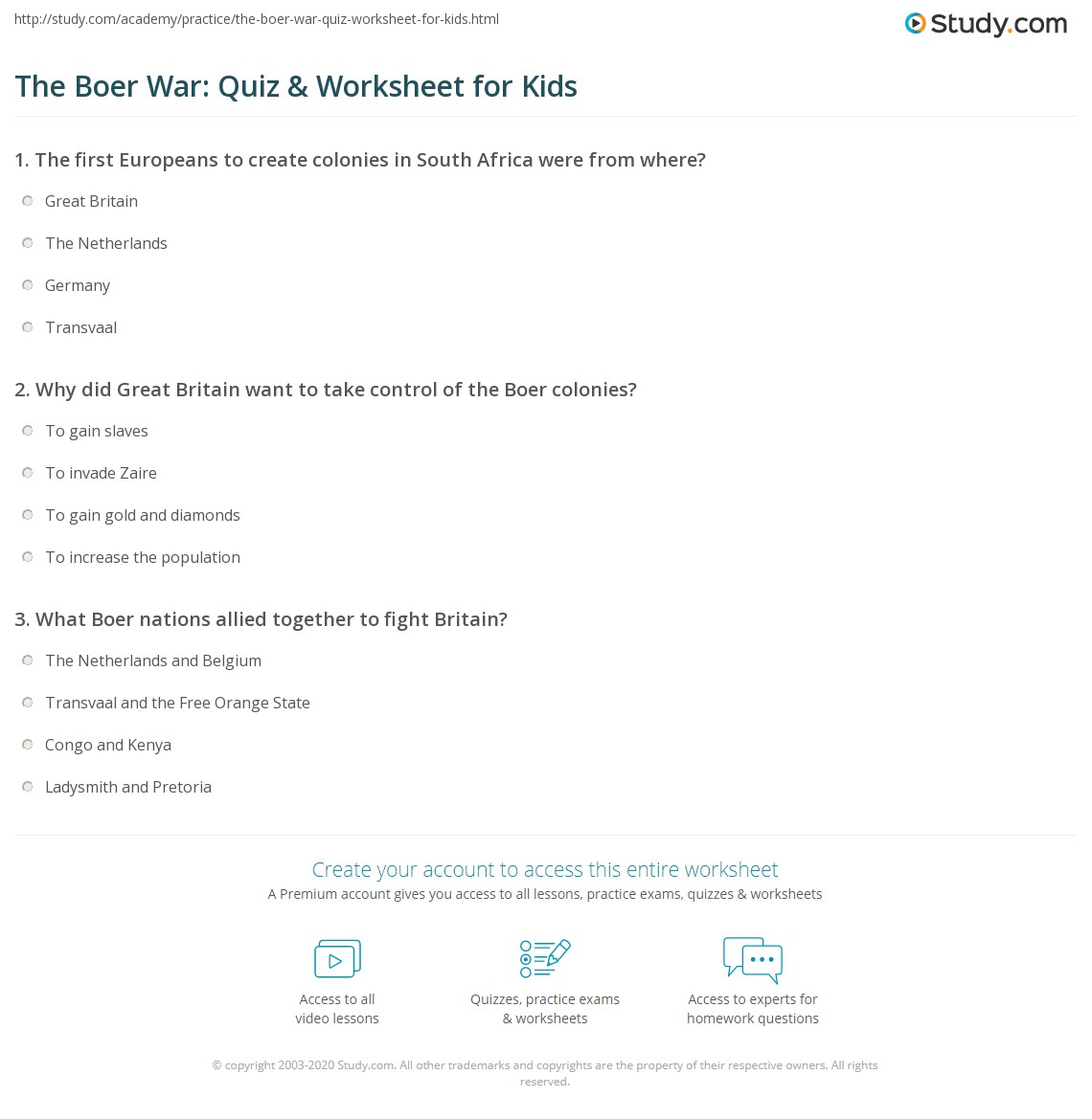 The Boer War Quiz Amp Worksheet For Kids