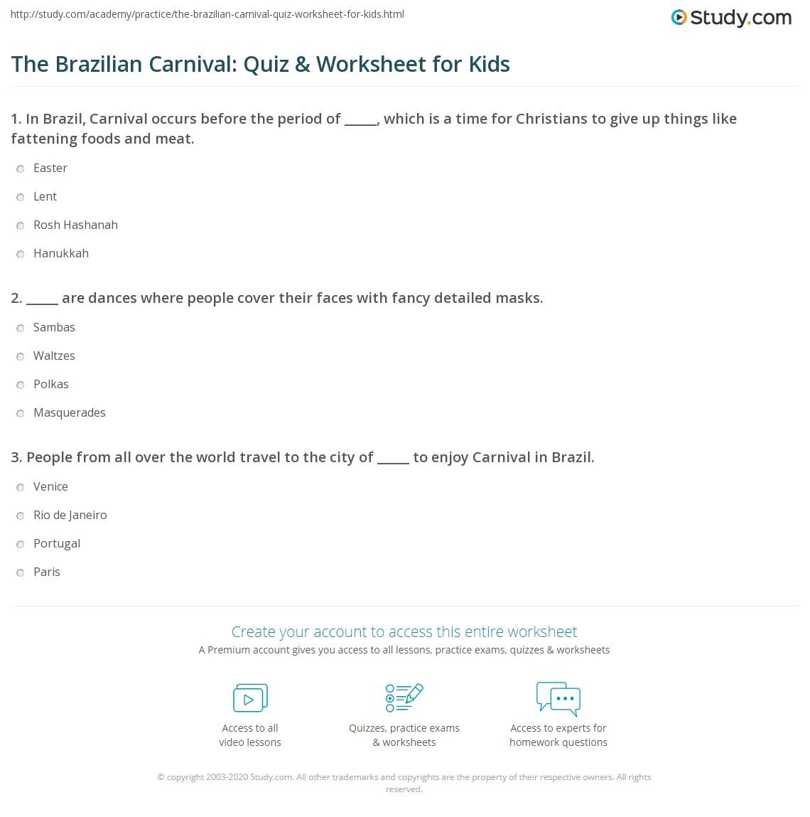 The Brazilian Carnival Quiz Amp Worksheet For Kids