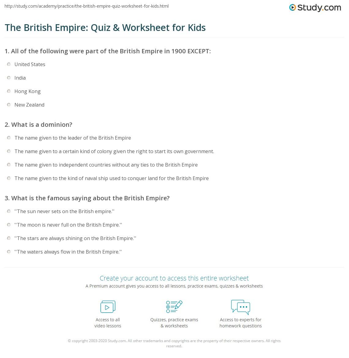 The British Empire Quiz Amp Worksheet For Kids