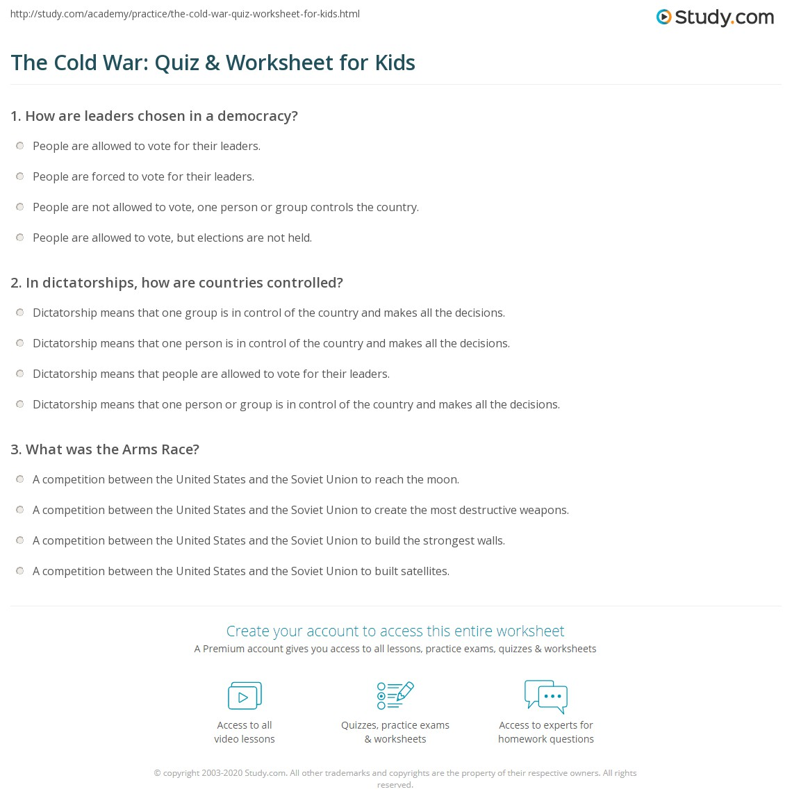 The Cold War Quiz Amp Worksheet For Kids
