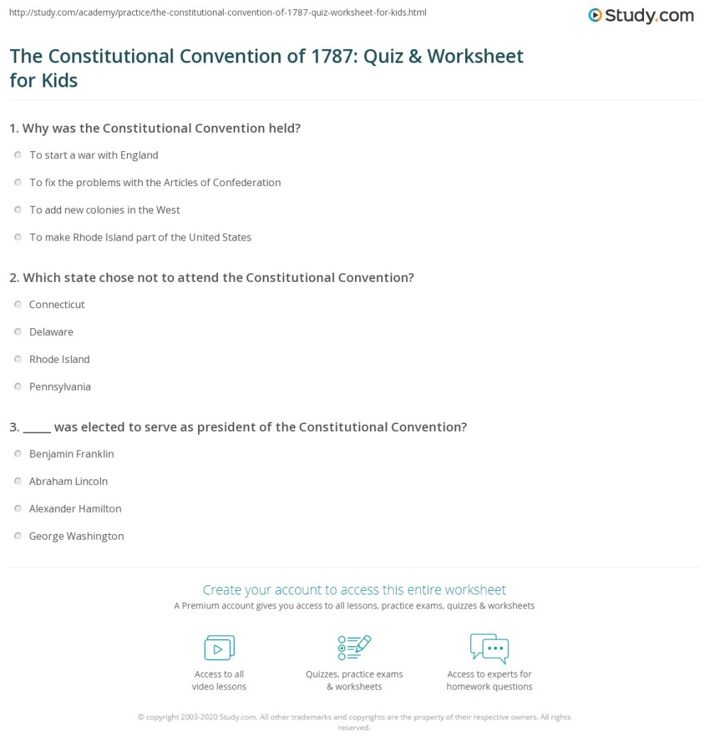 medium resolution of The Constitutional Convention of 1787: Quiz \u0026 Worksheet for Kids   Study.com