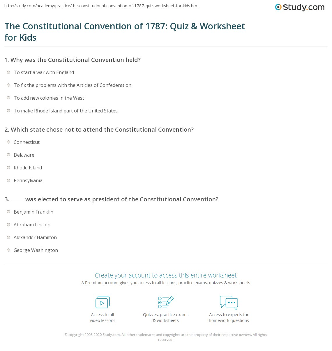 hight resolution of The Constitutional Convention of 1787: Quiz \u0026 Worksheet for Kids   Study.com