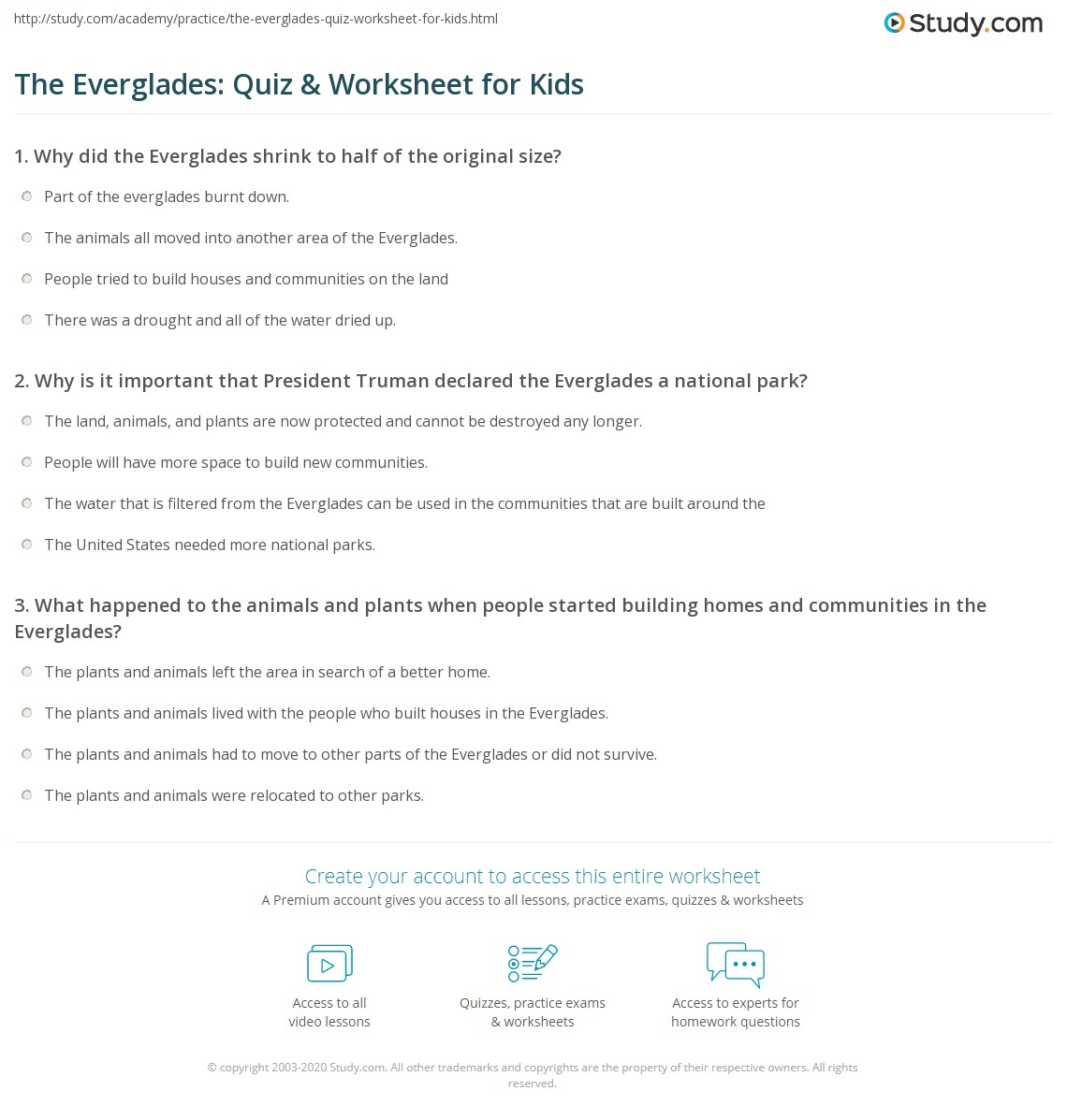 The Everglades Quiz Amp Worksheet For Kids