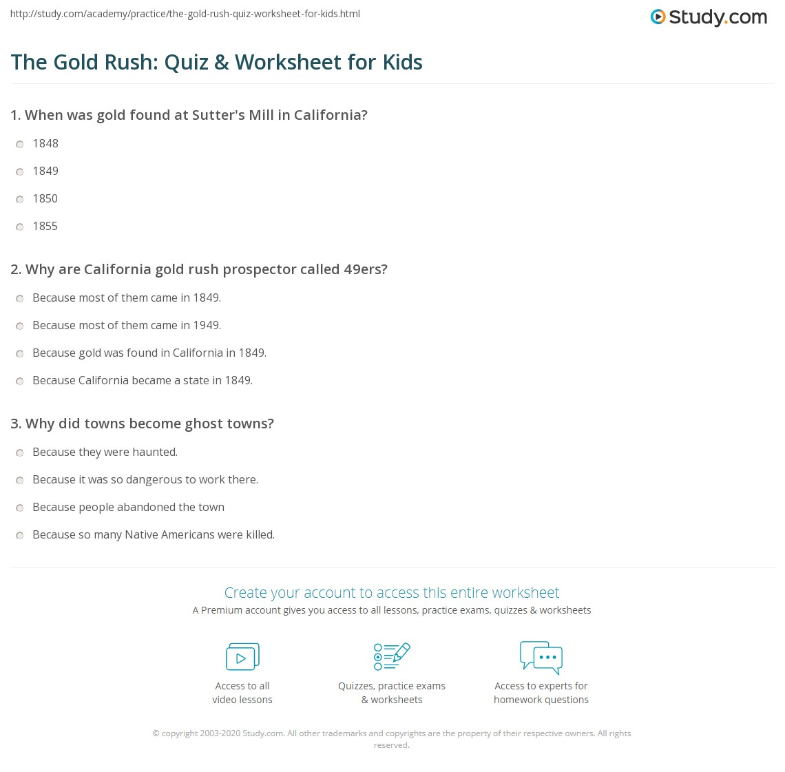 The Gold Rush Quiz Amp Worksheet For Kids