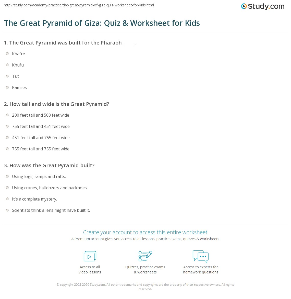The Great Pyramid Of Giza Quiz Amp Worksheet For Kids