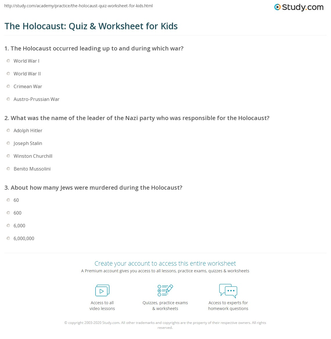 The Holocaust Quiz Amp Worksheet For Kids