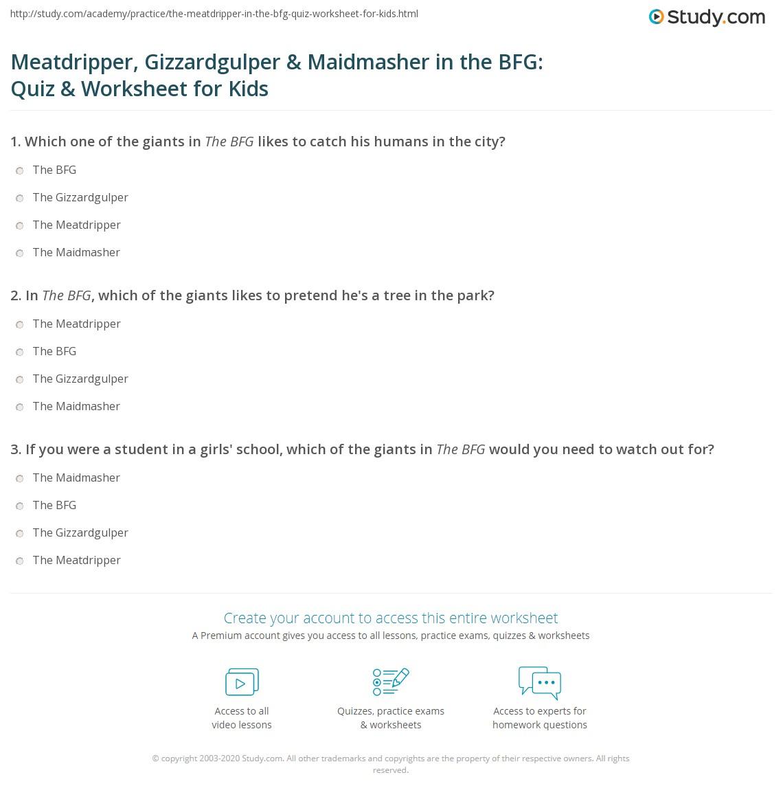 Meatdripper Gizzardgulper Amp Maidmasher In The Bfg Quiz