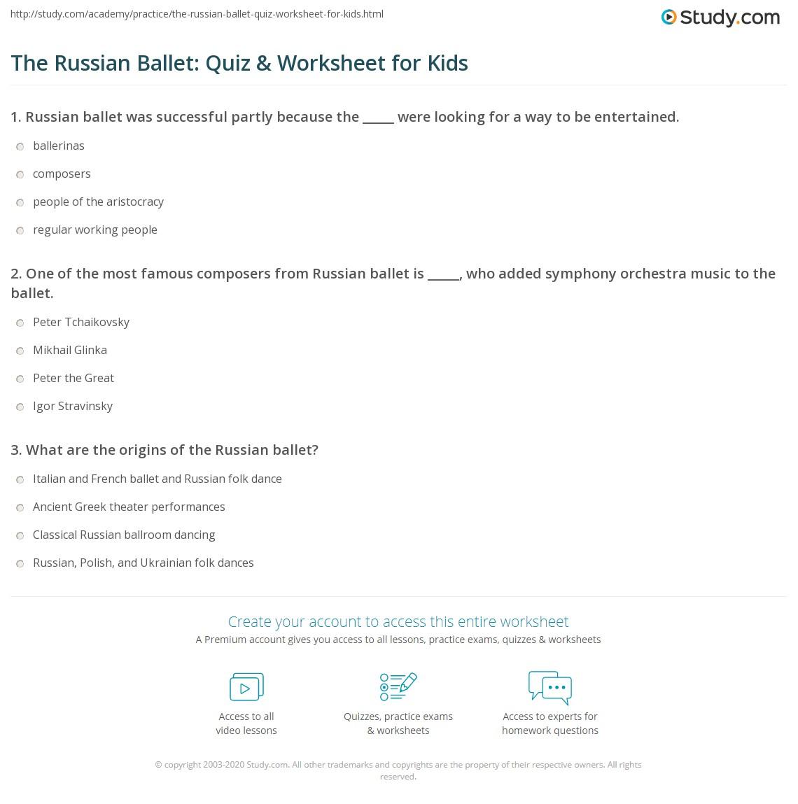 The Russian Ballet Quiz Amp Worksheet For Kids