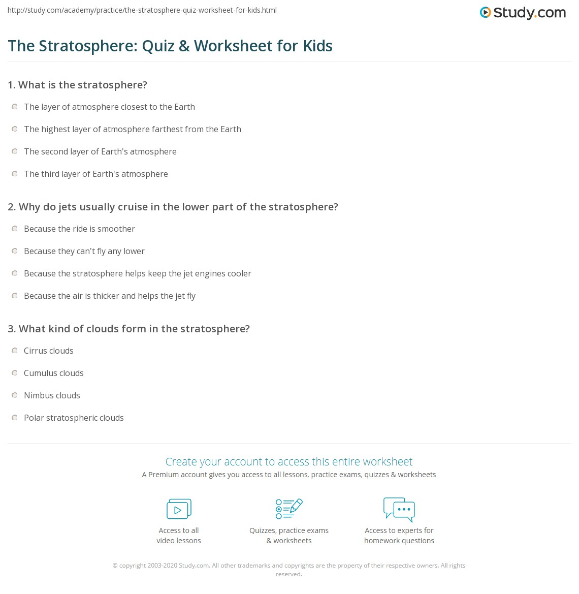 The Stratosphere Quiz Amp Worksheet For Kids