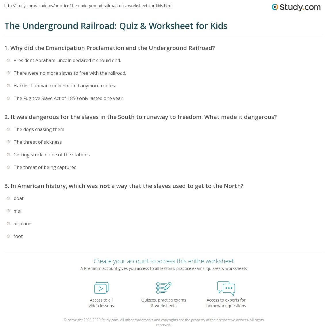 The Underground Railroad Quiz Amp Worksheet For Kids