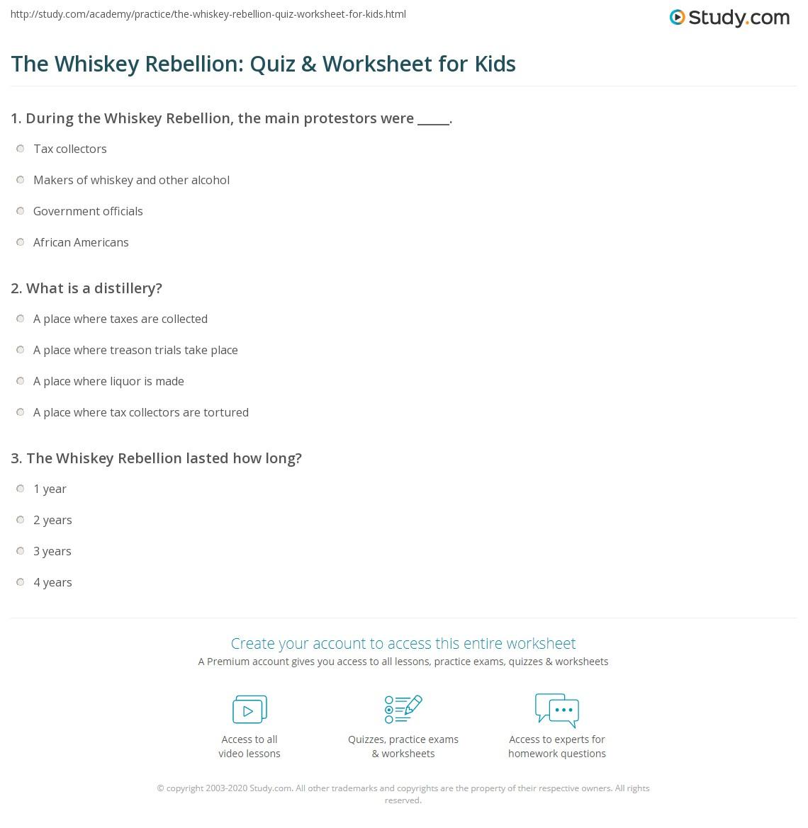 The Whiskey Rebellion Quiz Amp Worksheet For Kids