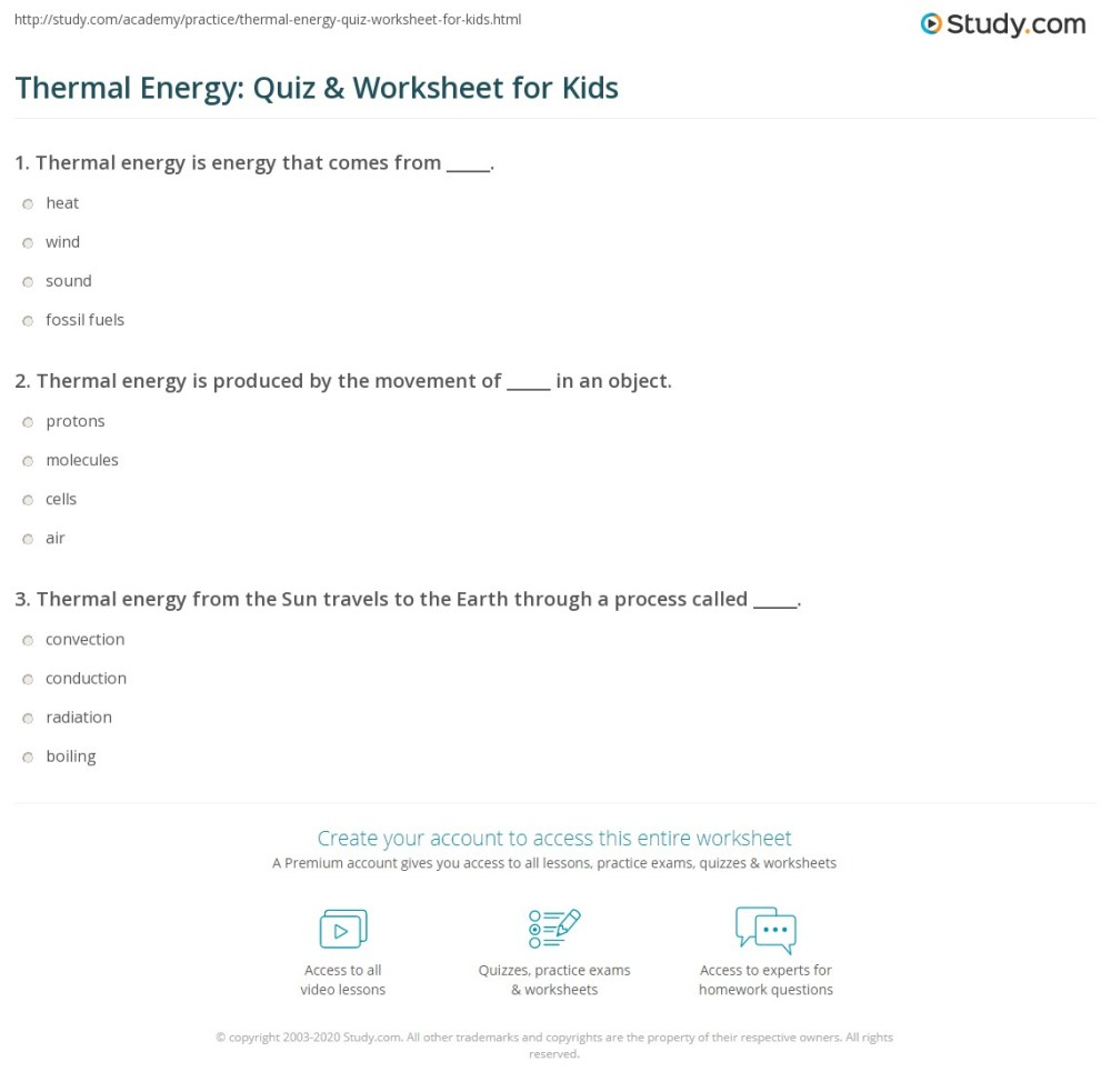 medium resolution of Thermal Energy: Quiz \u0026 Worksheet for Kids   Study.com