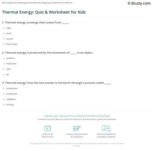 small resolution of Thermal Energy: Quiz \u0026 Worksheet for Kids   Study.com