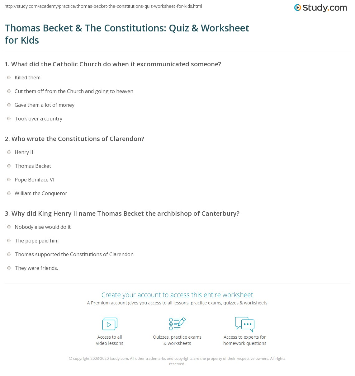 Thomas Becket Amp The Constitutions Quiz Amp Worksheet For
