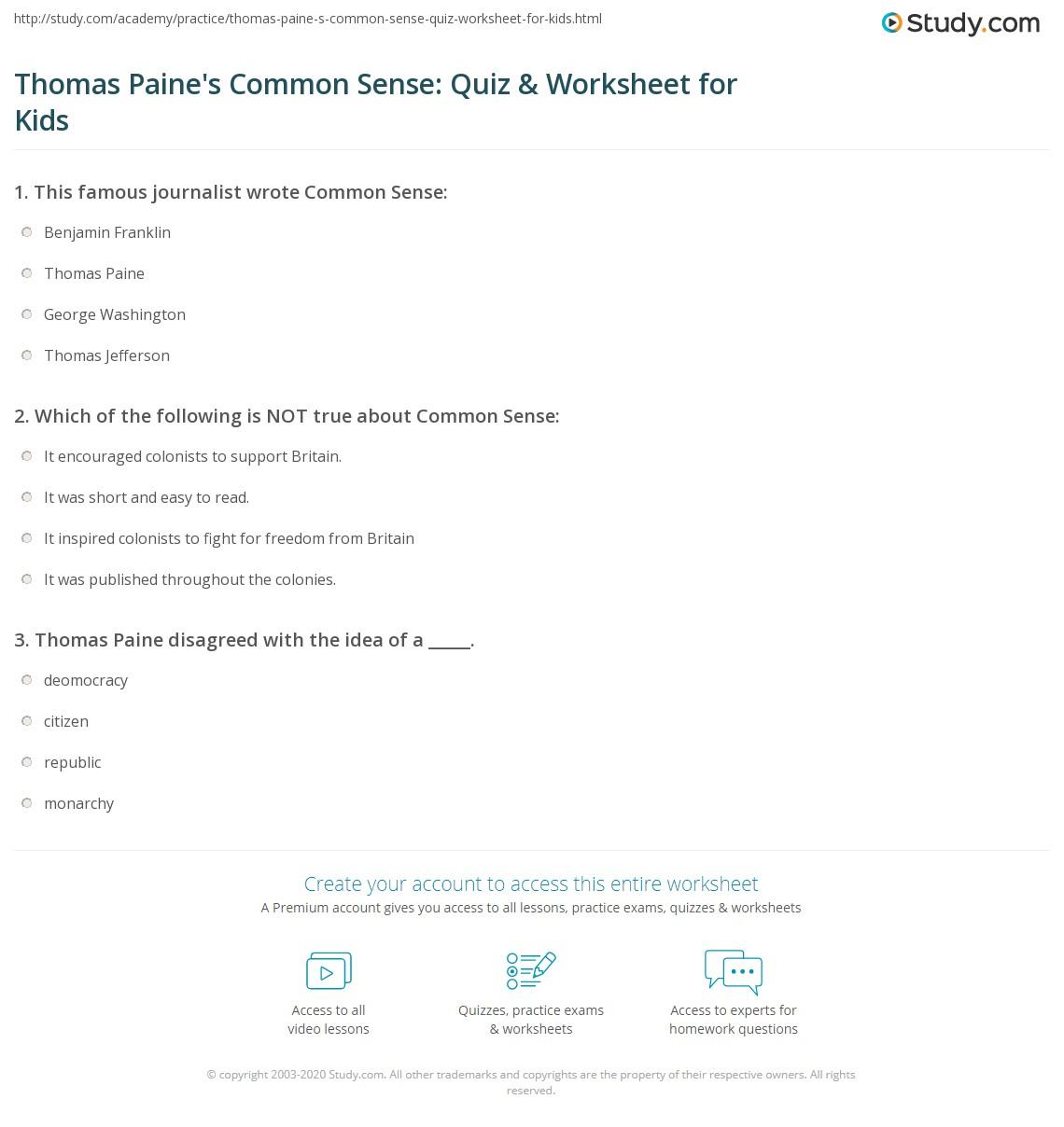 Thomas Paine S Common Sense Quiz Amp Worksheet For Kids