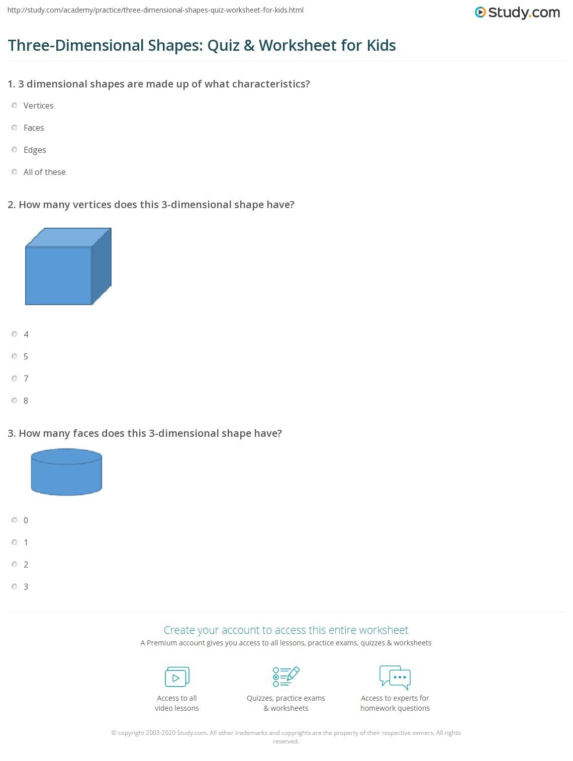 On 3 D Dimensional Shapes Worksheet